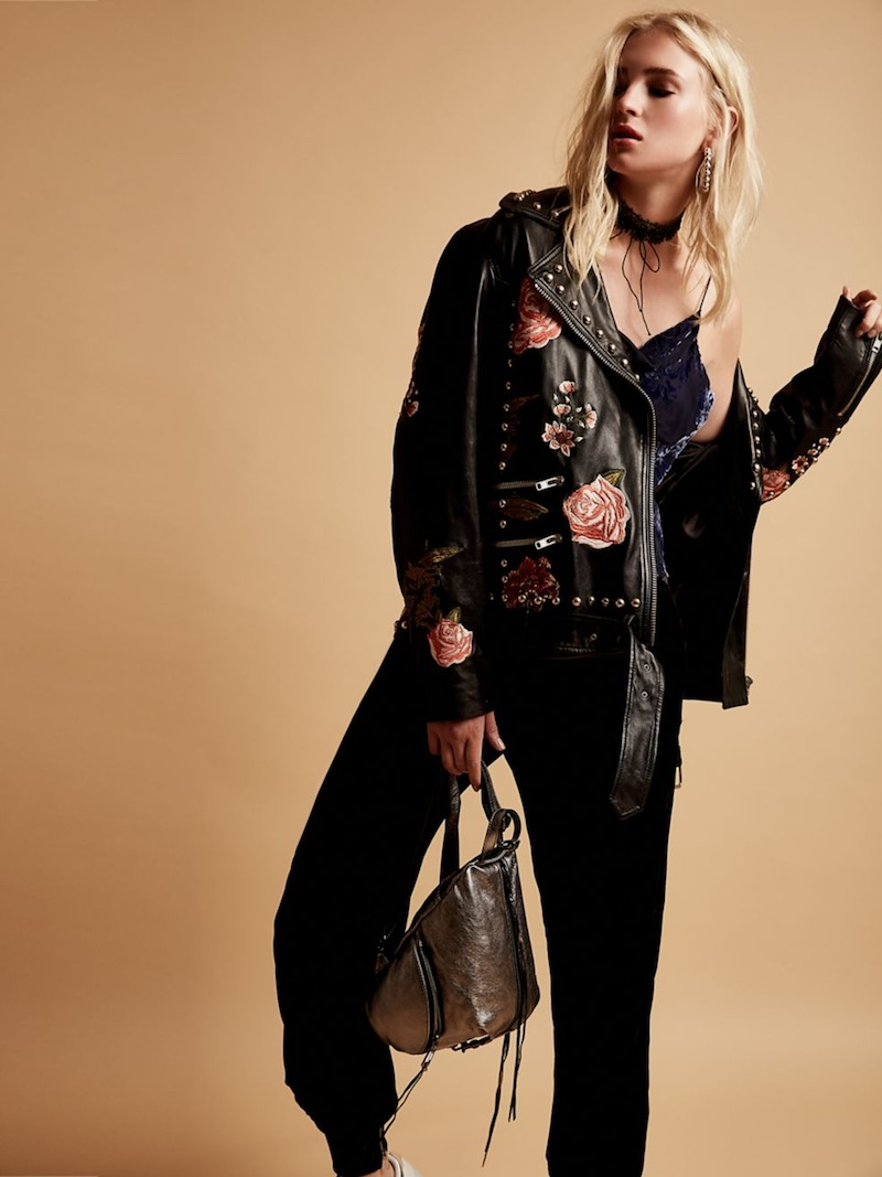 LPA Rose Studded Leather Jacket