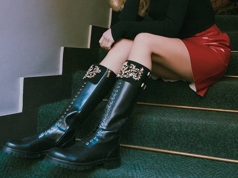 LVR Editions x René Caovilla Black Leather Biker Boots with Golden Shadow Swarovski Crystals