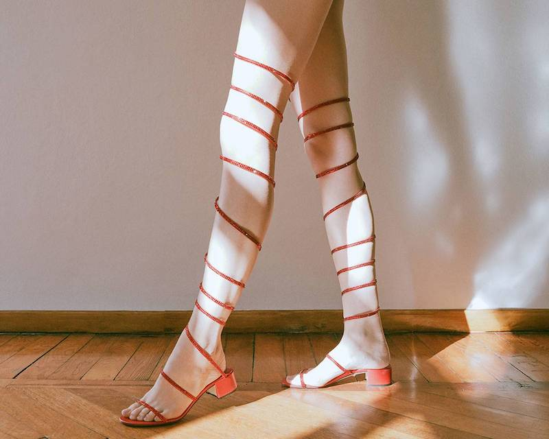 LVR Editions x René Caovilla Snake Sandals with Swarovski Crystals and Satin Ribbon