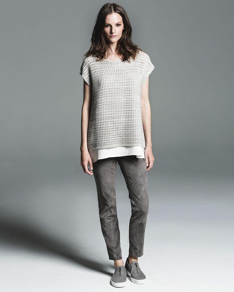 Lafayette 148 New York Short-Sleeve Open-Stitch Sequin Cashmere Sweater