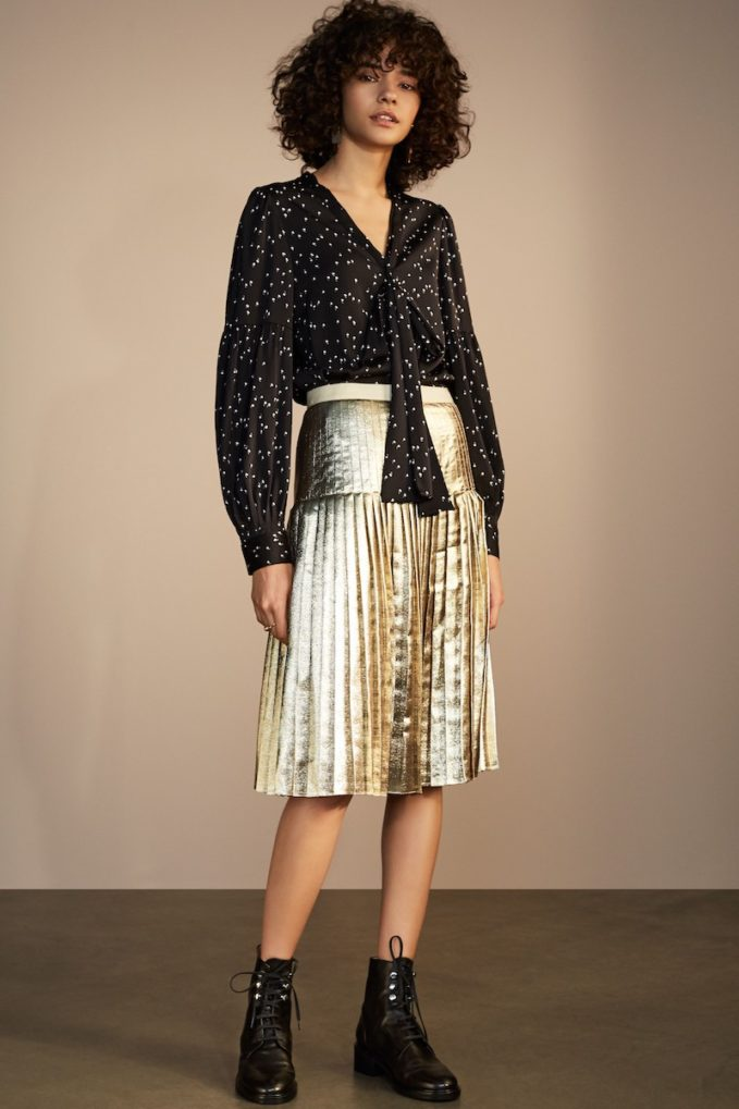 Lewit Pleated Metallic Skirt
