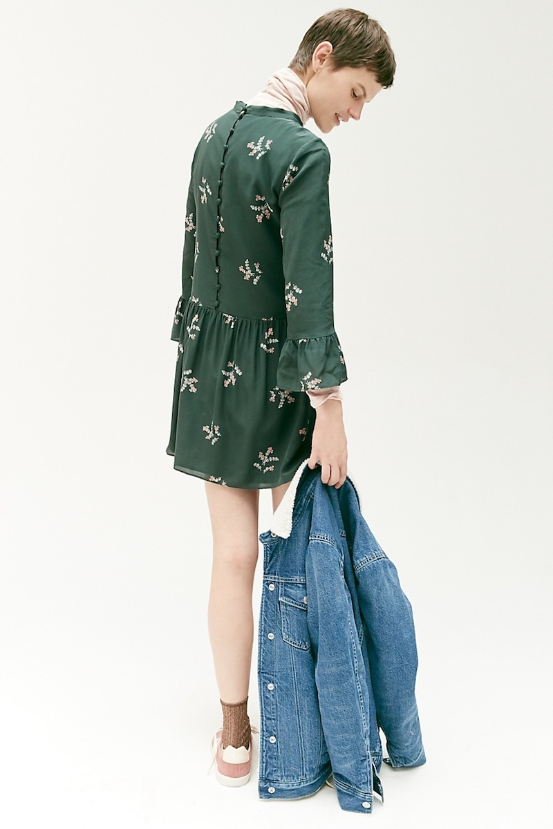 Madewell Silk Tie-Neck Dress In Wild Botanic