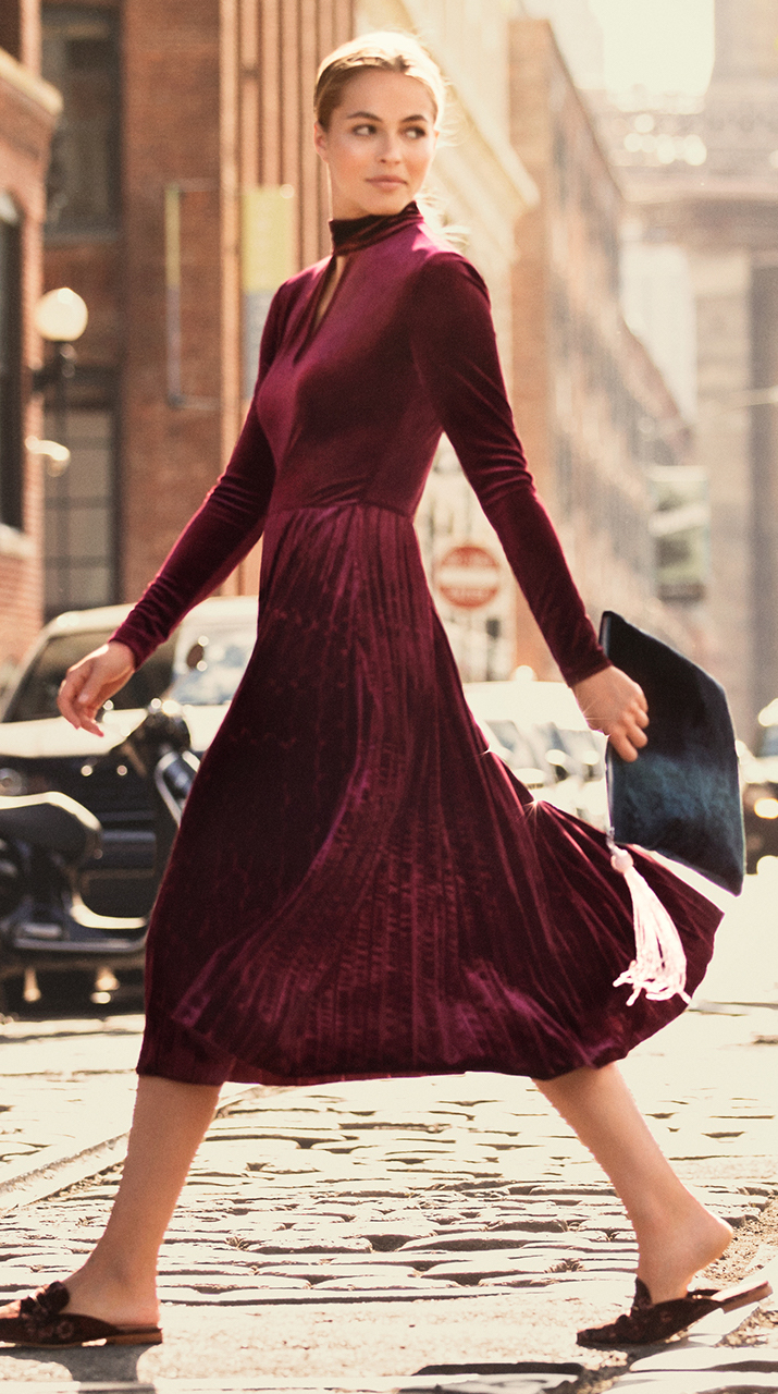 Maggy London Pleated Velvet Fit and Flare with High Neck and Keyhole