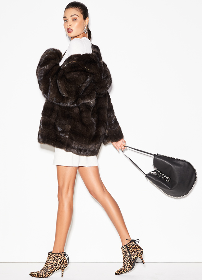 Michael Kors Collection Seamed Sable Fur Parka Coat with Hood