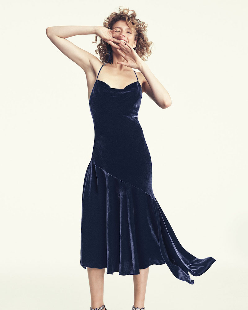 Milly Lienne Strappy Panne Velvet Dress