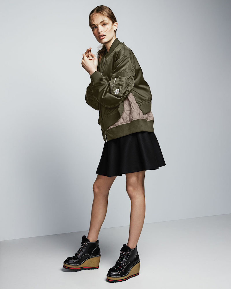 Moncler Aralia Ruched Tiered Bomber Jacket