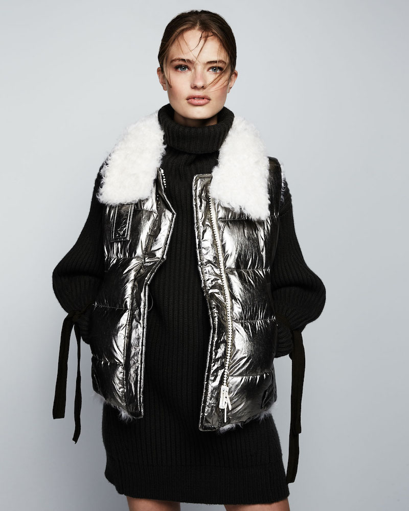 Moncler Lirio Quilted Metallic Puffer Coat with Shearling
