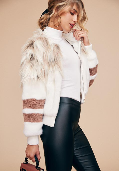 NBD x REVOLVE The Bella Faux Fur Bomber