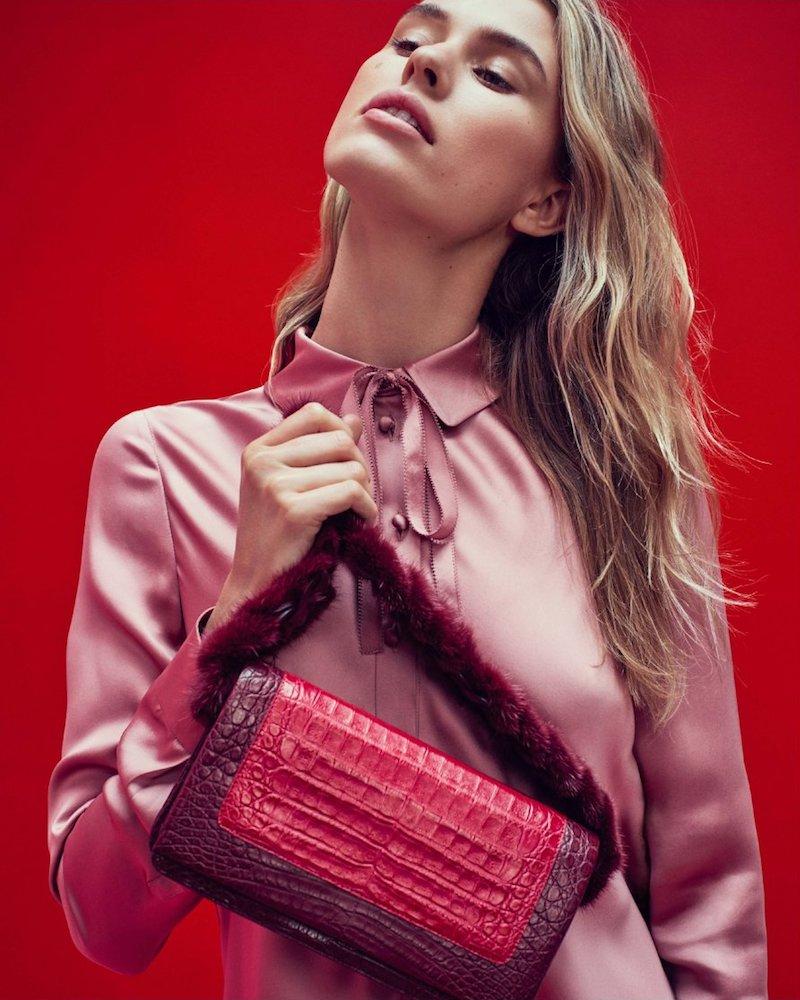 Nancy Gonzalez Mink Fur & Crocodile Shoulder Bag