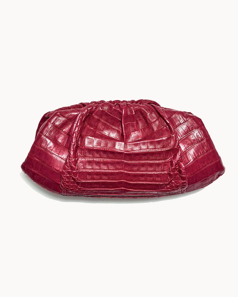 Nancy Gonzalez Ruched Crocodile Clutch Bag
