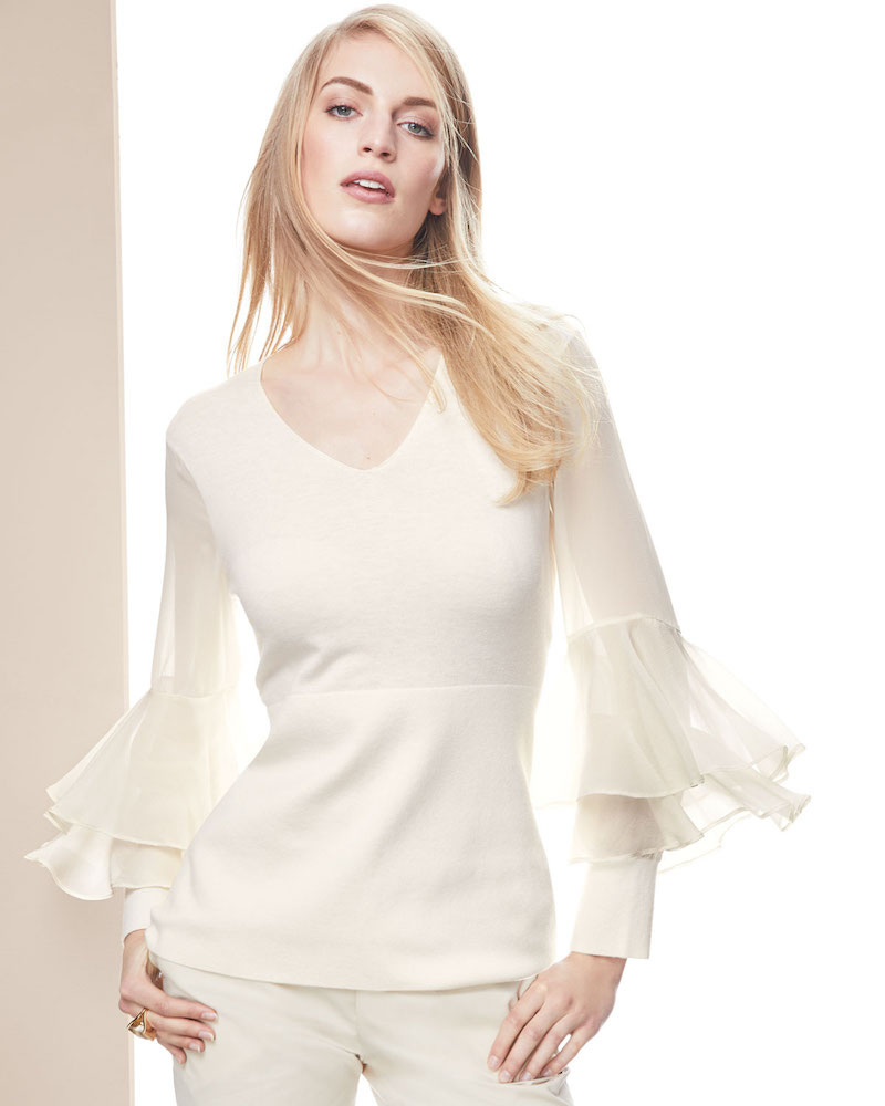 Neiman Marcus Cashmere Collection Chiffon Ruffle-Sleeve V-Neck Cashmere Sweater