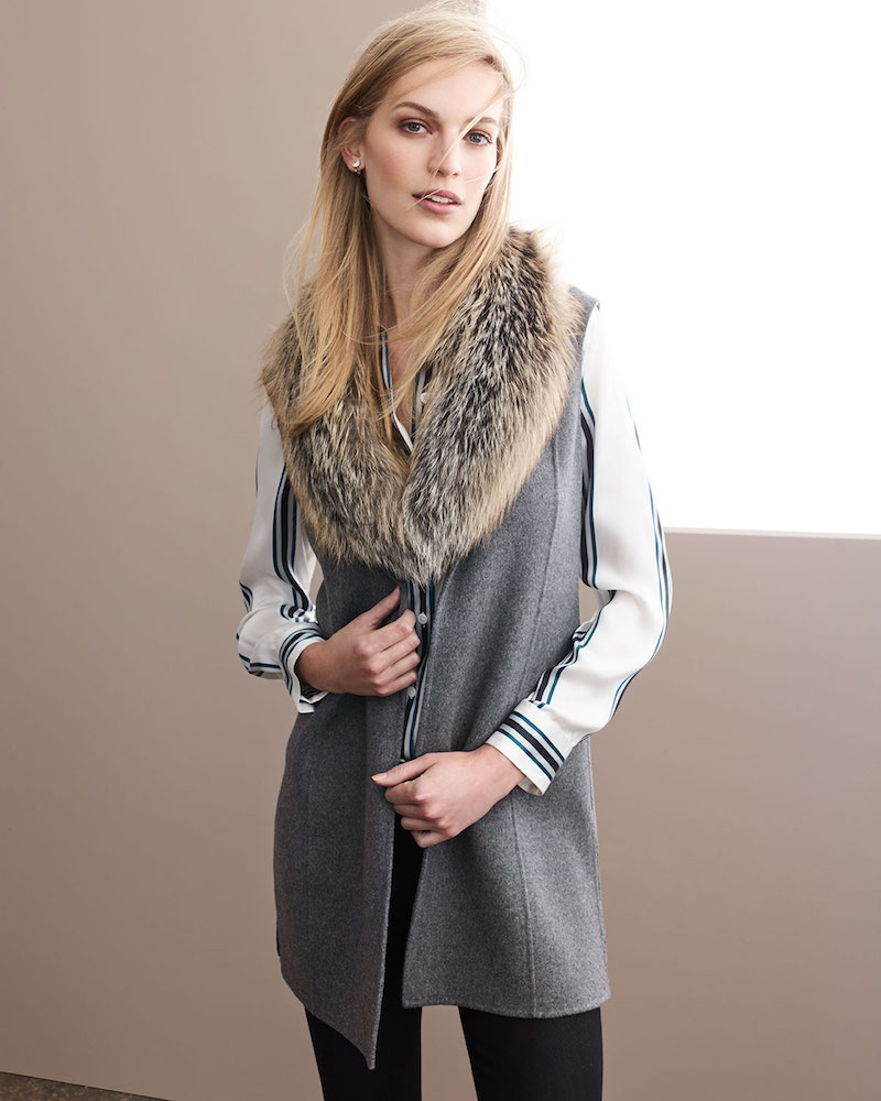 Neiman Marcus Cashmere Collection Luxury Double-Faced Cashmere Vest with Fox Fur Collar