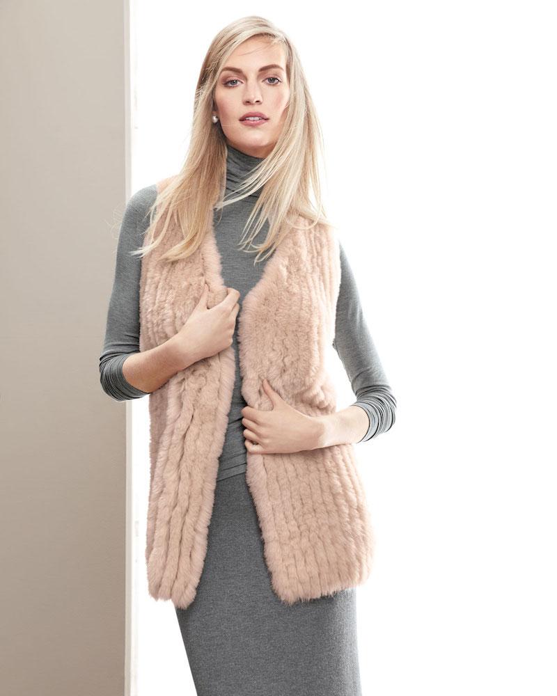 Neiman Marcus Cashmere Collection Luxury Fox Fur Vest with Sequin-Trim Cashmere Back