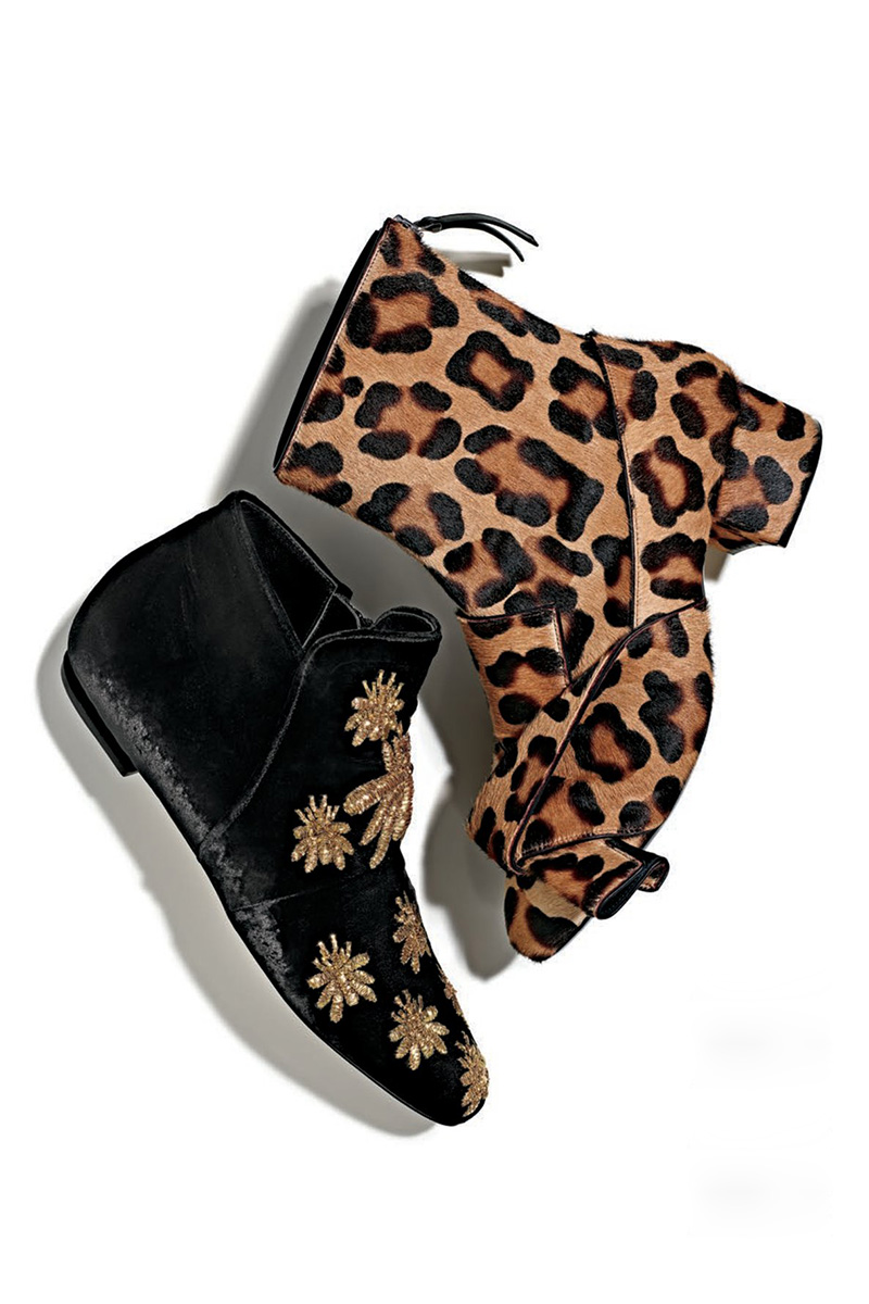 No. 21 Leopard-Print Calf Hair Bow Boot