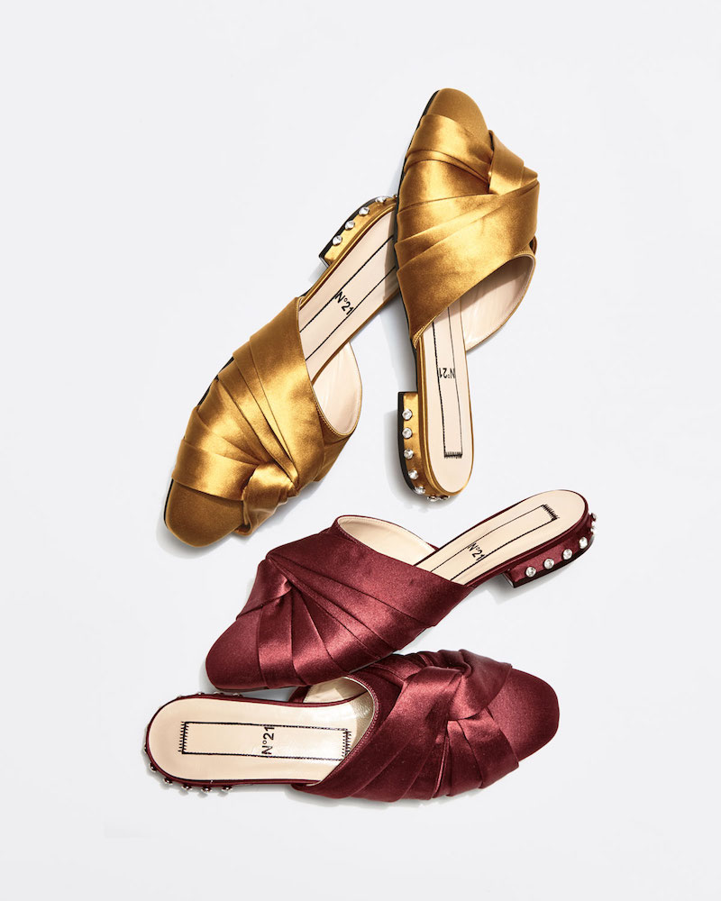 No. 21 Satin Knotted Flat Mule