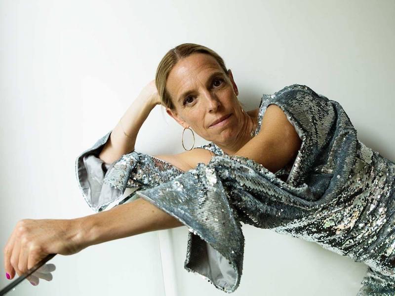Osman Poppy Split-Sleeved Sequin-Embellished Dress