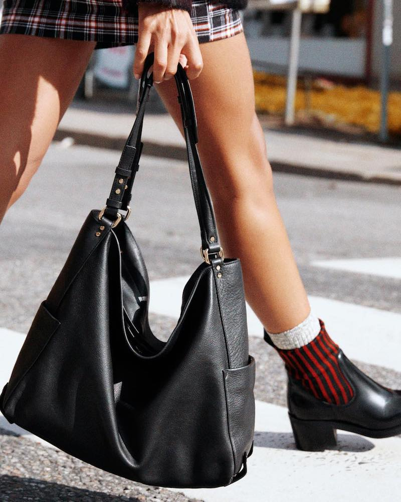 & Other Stories Double Strap Leather Hobo Bag