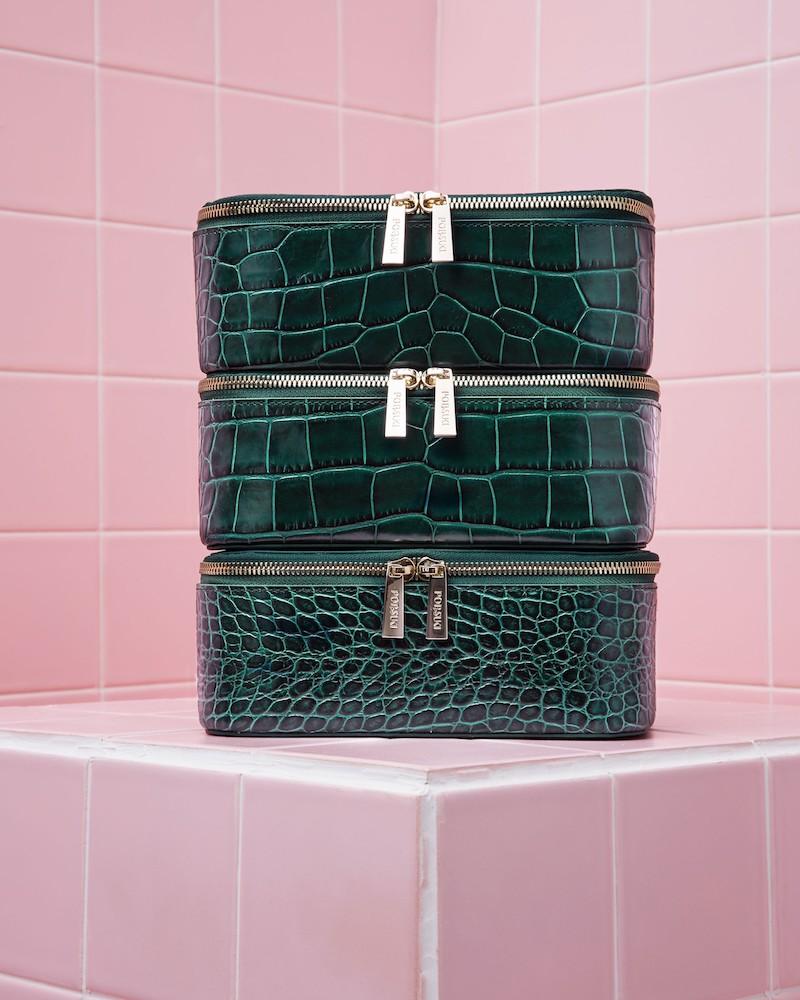 Pop & Suki Bigger Croc Embossed Leather Makeup Case