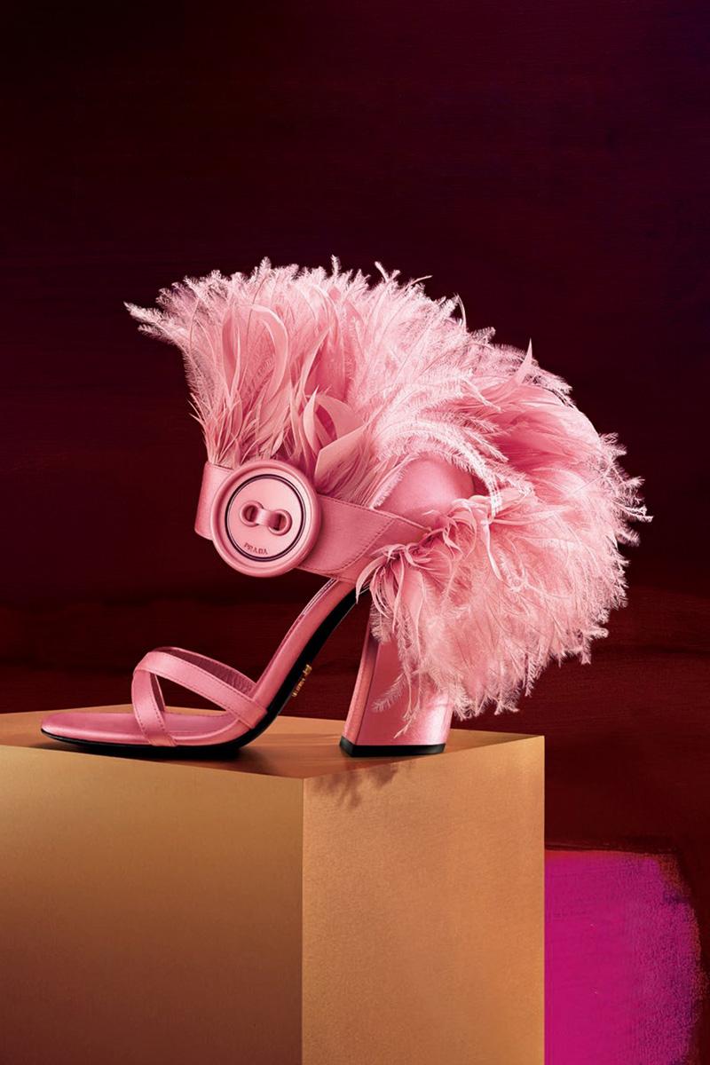 Prada Feather-Embellished Satin Sandal