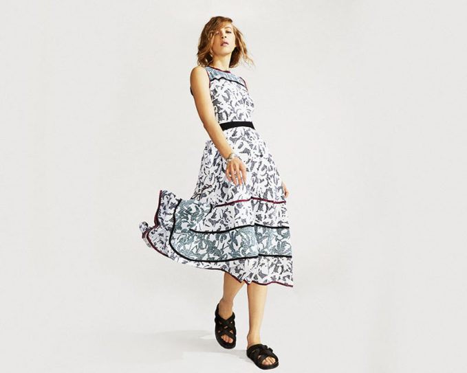 Proenza Schouler Abstract-Print Silk Maxi Dress