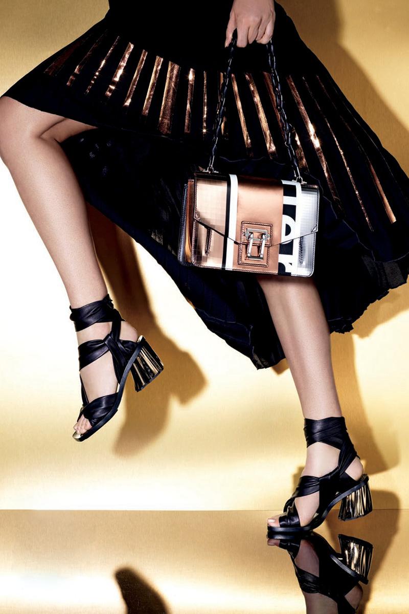 Proenza Schouler Hava Patchwork Metallic Chain Shoulder Bag