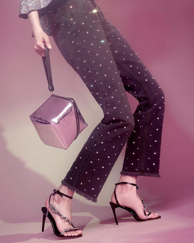 Proenza Schouler Mini Cube Metallic Leather Bag