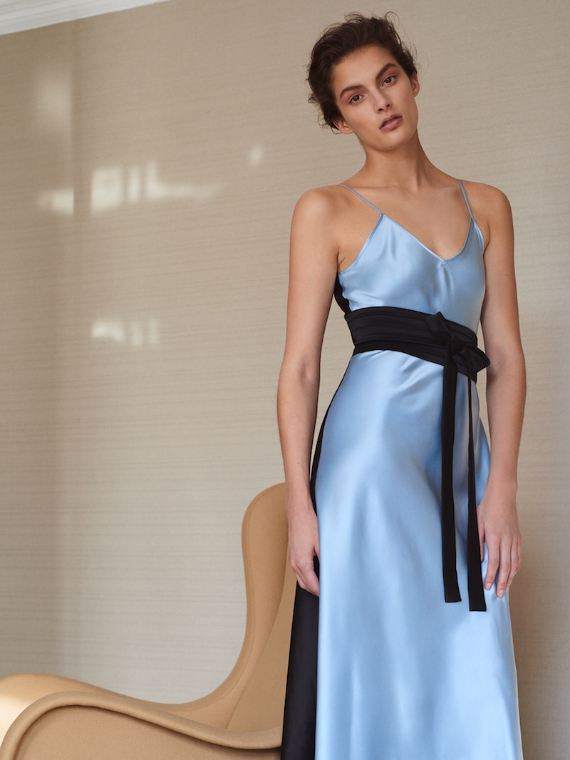 Racil Geiko Colour-Block Satin Slip Dress