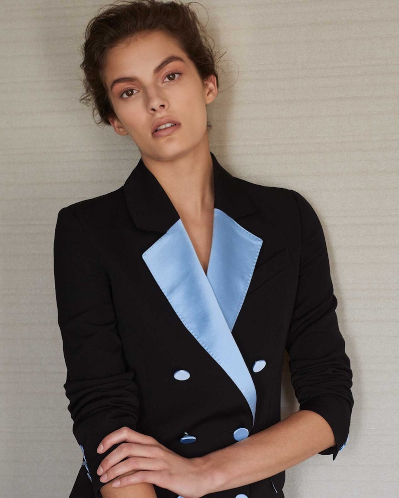 Racil Paris Double-Breasted Contrast-Lapel Crepe Blazer
