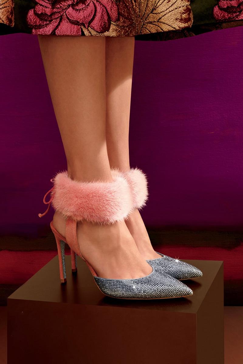 Rene Caovilla Crystal-Embellished Kidskin Fur Ankle Cuff Pumps