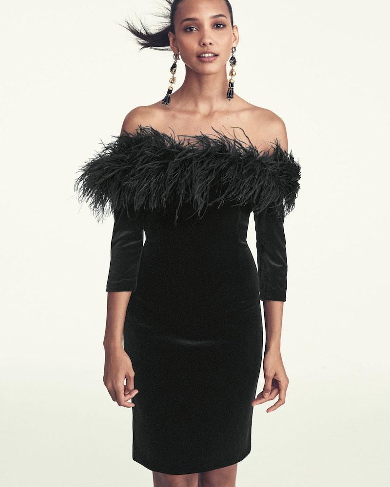 Rickie Freeman for Teri Jon 3/4-Sleeve Feather-Trim Off-the-Shoulder Velvet Cocktail Dress