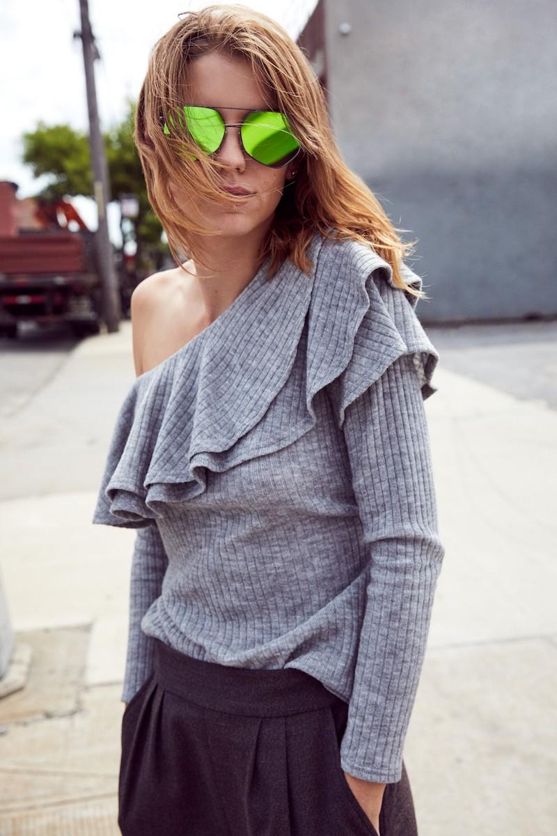 STOREE Ruffle One-Shoulder Sweater
