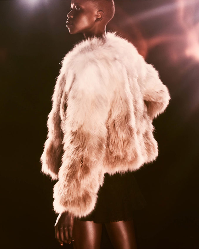 Saint Laurent Gradient Fox-Fur Coat