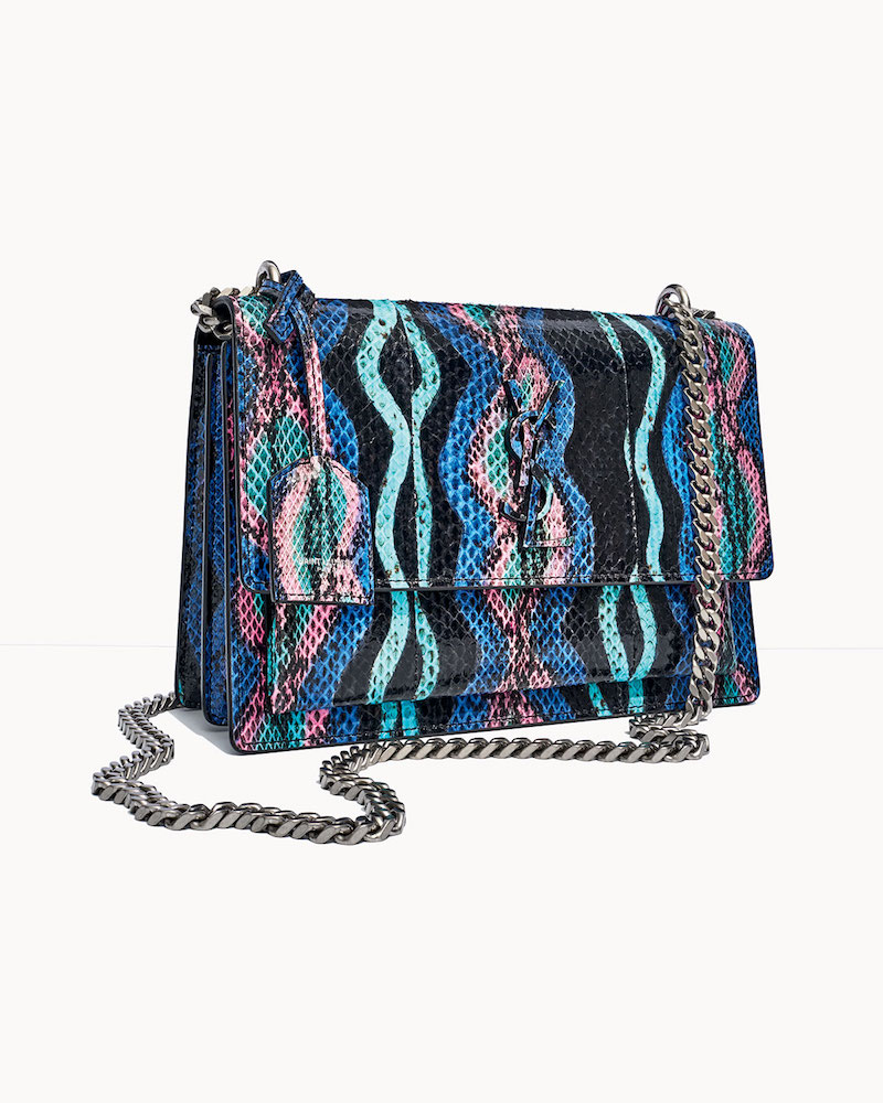 Saint Laurent Sunset Medium Curvy Striped Snakeskin Crossbody Bag