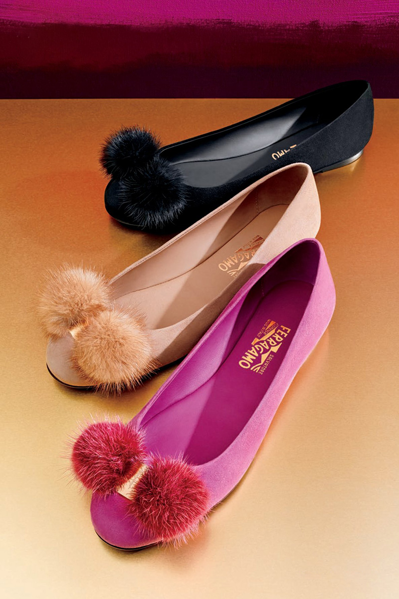 Salvatore Ferragamo Fur-Bow Suede Ballerina Flat