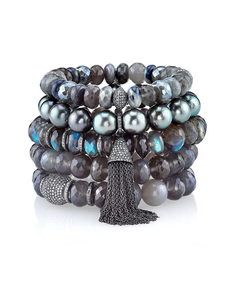 Sheryl Lowe Beaded Tahitian Pearl Bracelet with Tassel