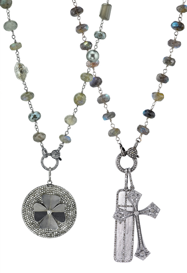 Sheryl Lowe Gray Beaded Necklace with Diamond Clover Pendant