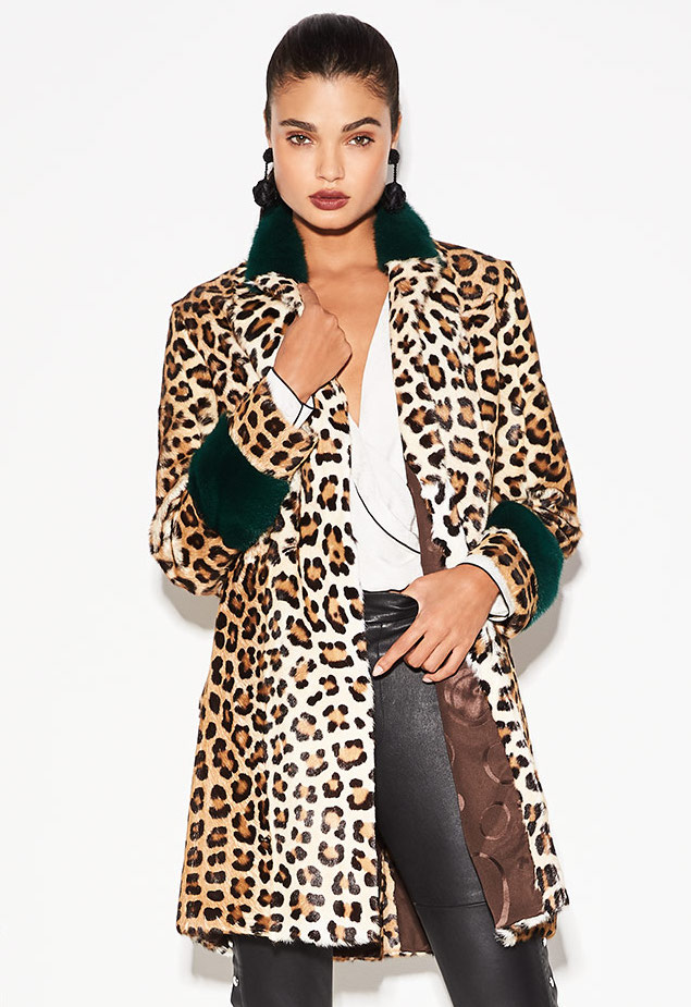 Simonetta Ravizza Animal-Print Button-Front Top Coat with Mink Cuffs