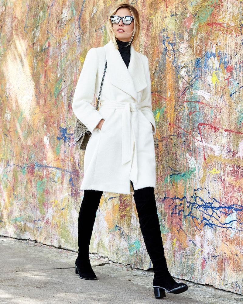 Sofia Cashmere Belted Shawl-Collar Baby Suri Alpaca Wrap Coat