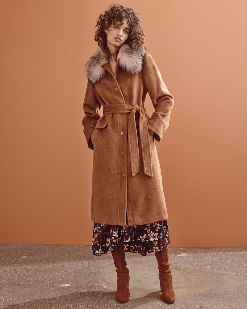 Sofia Cashmere Button-Front Belted Alpaca Top Coat with Fur Trim