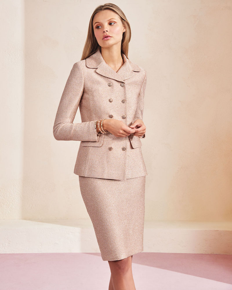 St. John Collection Frosted Metallic Double-Breasted Jacket