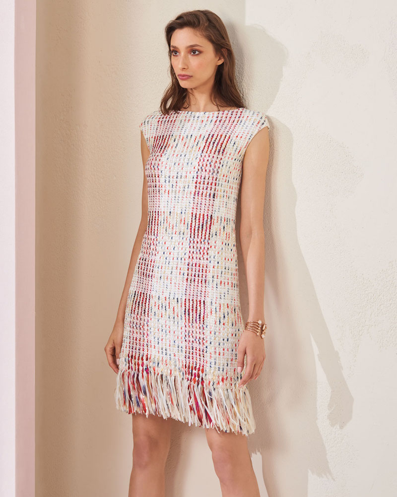 St. John Collection Soft Ribbon Macro Plaid Sheath Dress