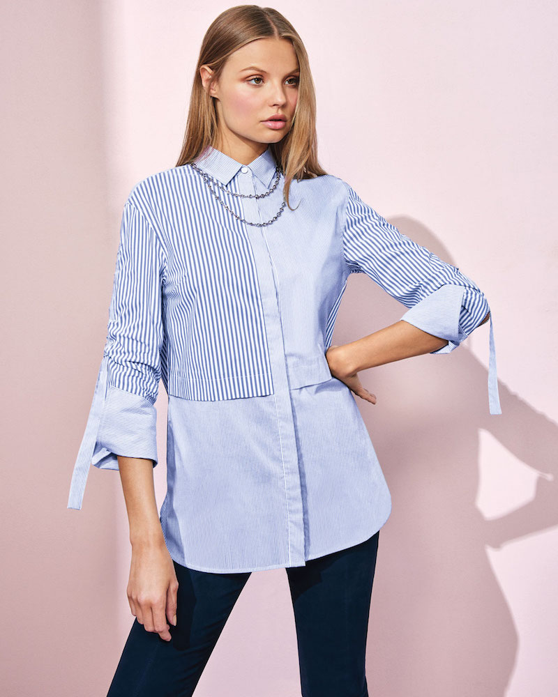 St. John Collection Striped Long-Sleeve Tunic