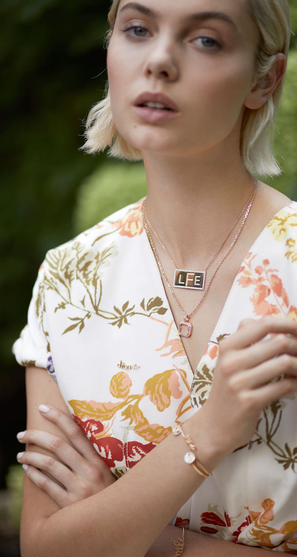 Stefanie Felser Custom 18k Rose Gold Name Plate Necklace