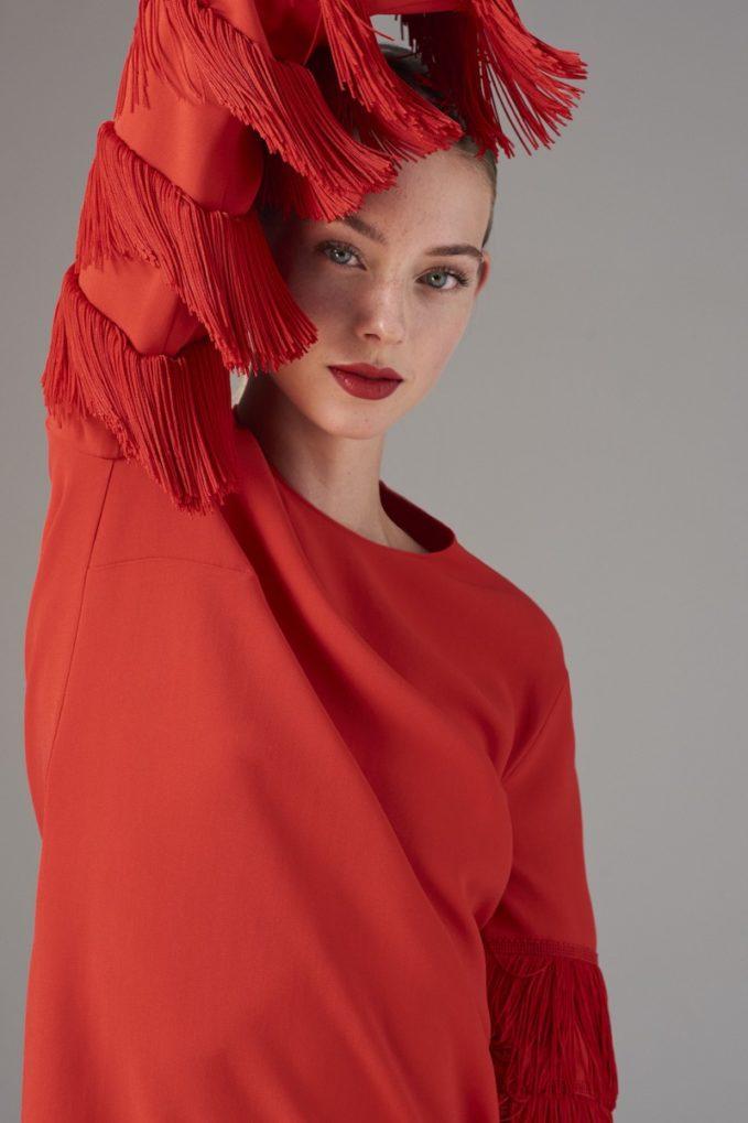Stella McCartney Fringe Sleeve Stretch Cady Dress
