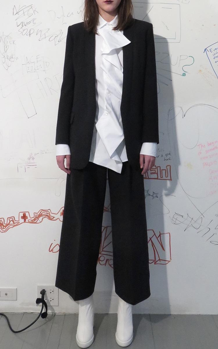 Summa Detachable-Ruffle Cotton-Poplin Shirt