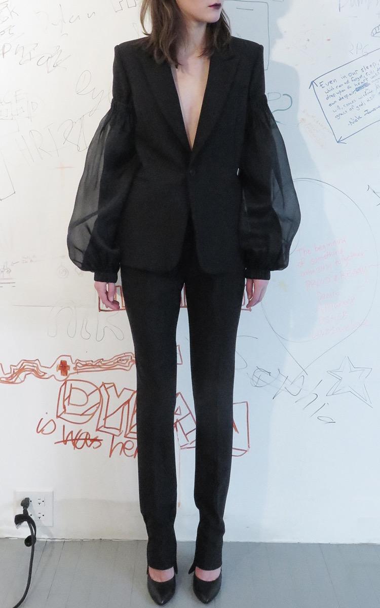 Summa Peak-Lapel Single-Breasted Twill Jacket