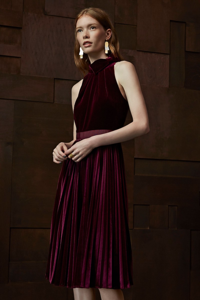 Ted Baker London Cornela Pleated Velvet Dress