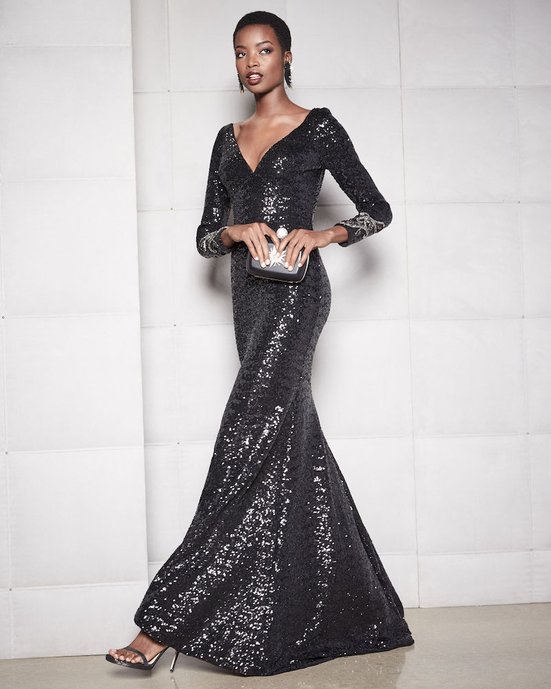 Theia Long-Sleeve V-Neck Sequined Mermaid Gown