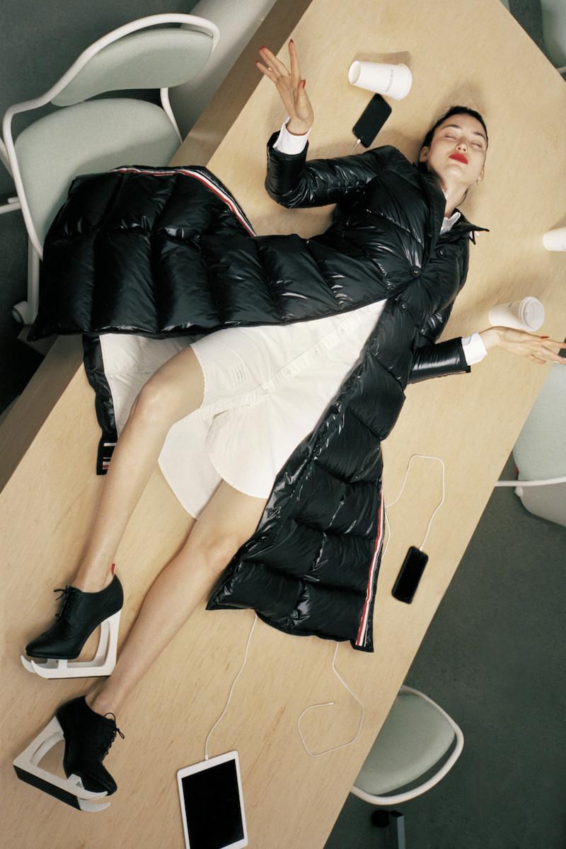 Thom Browne Black Down Wide-Lapel Coat