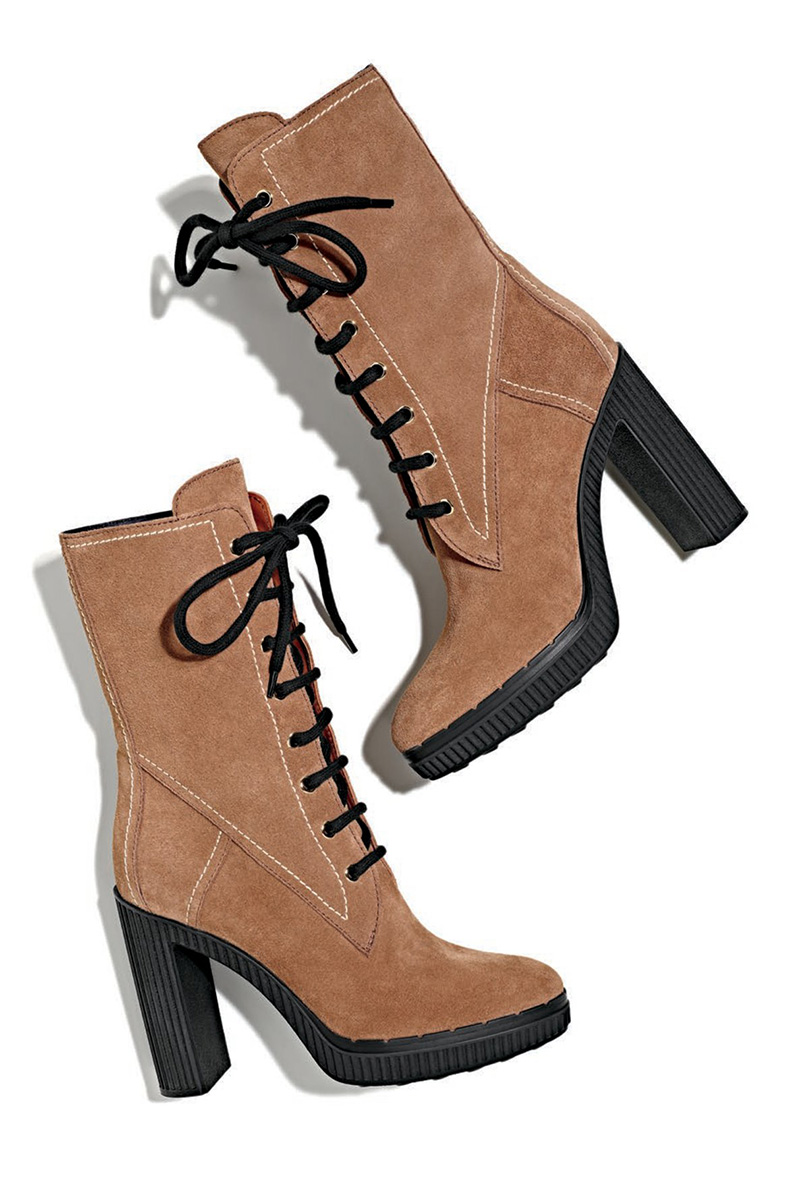 Tod's Lace-Up Suede Block-Heel Hiking Boot